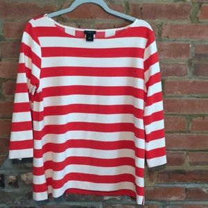 Striped knit top, 3/4 sleeve